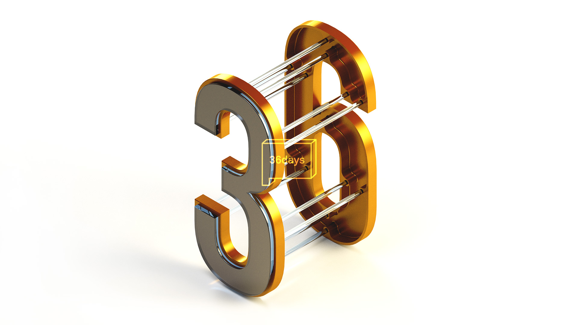 3D illustration of the numbers three and six connected