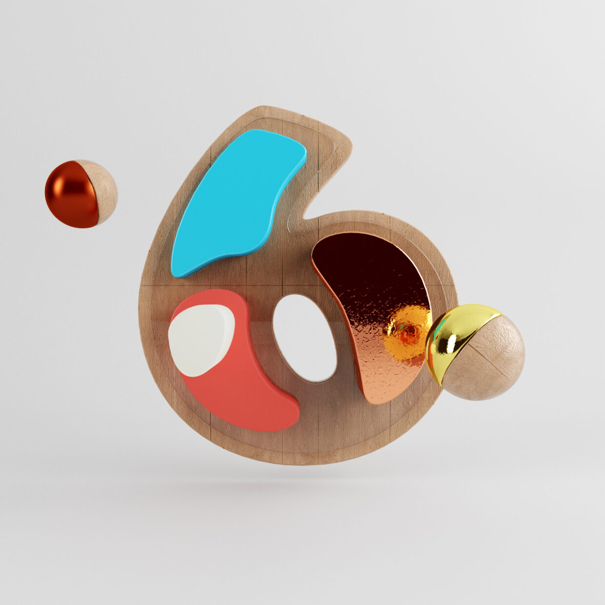 3D illustration of the number six made of wood and surrounded by two flying balls