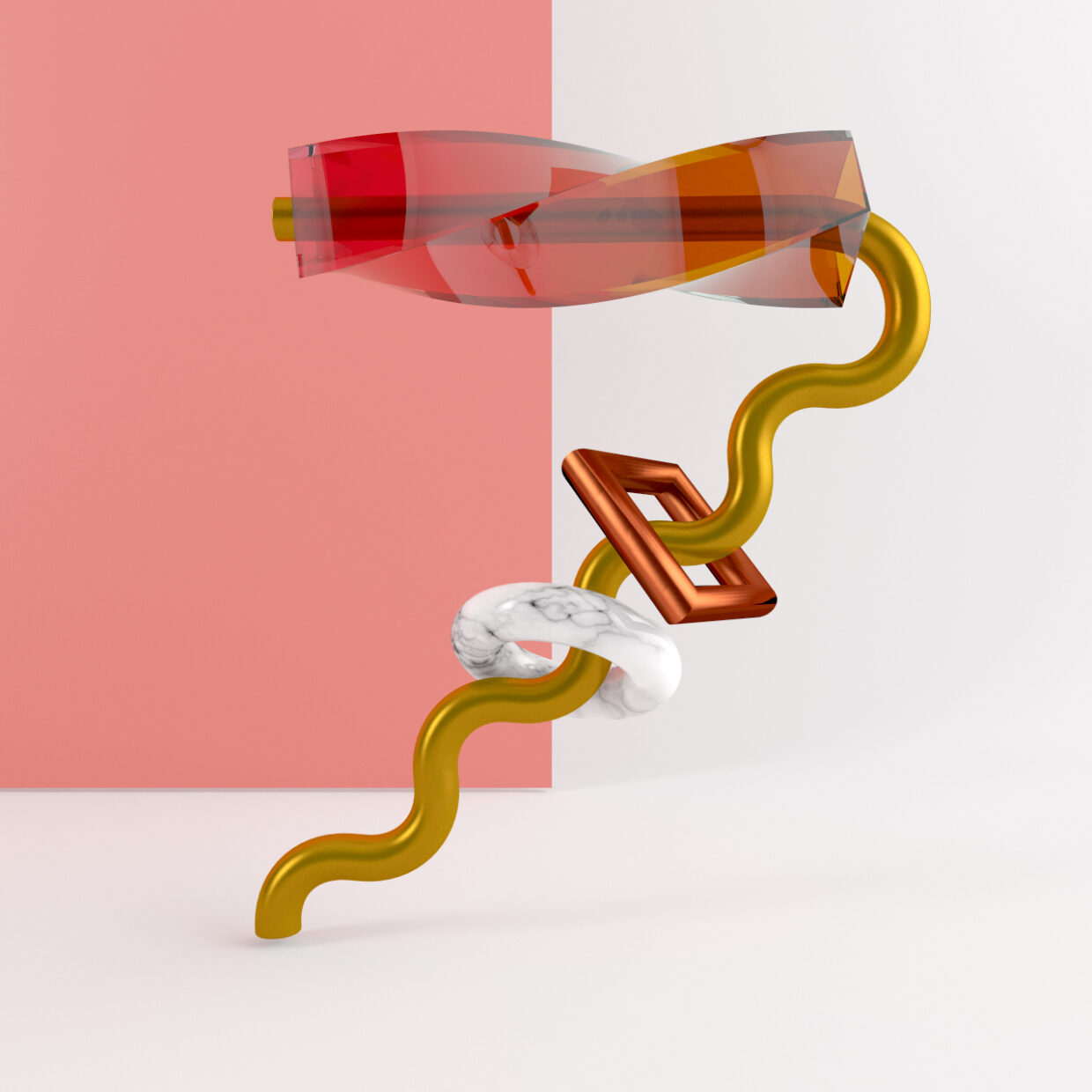 3D illustration of an abstract number seven