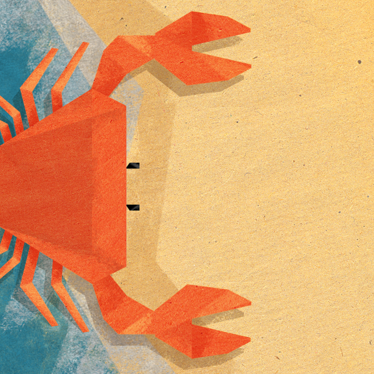 Illustration of the letter C imagined as a crab on a beach