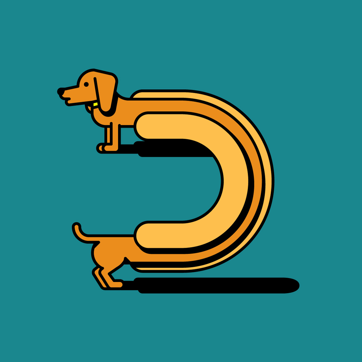 Illustration of the letter D imagined as a hot dog