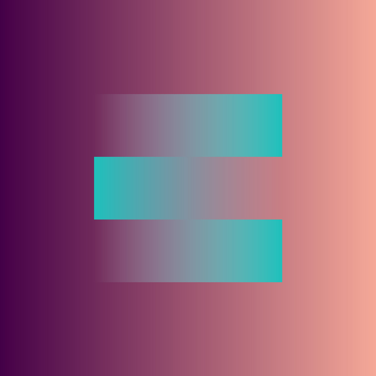 Illustration of the letter E designed with three gradients