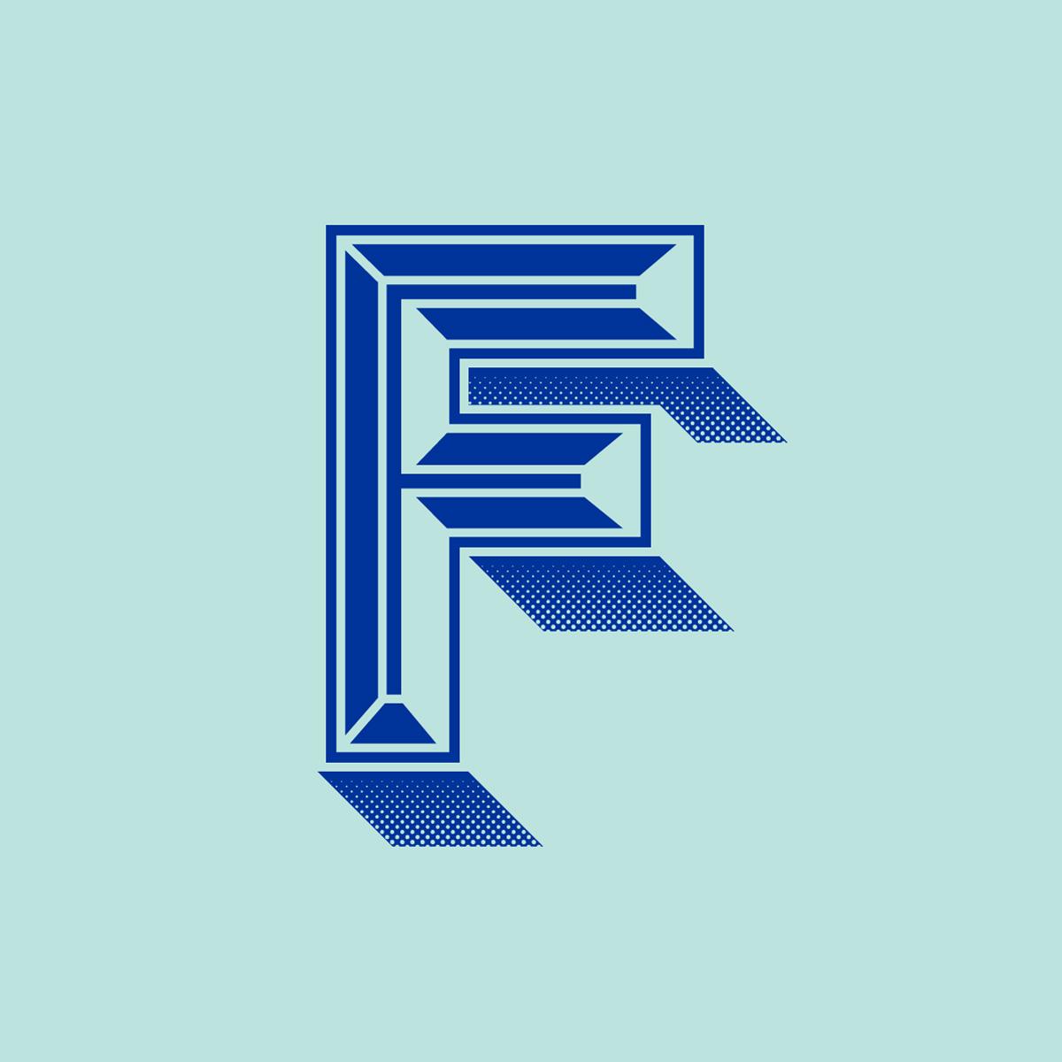 Illustration of a blue embossed letter F
