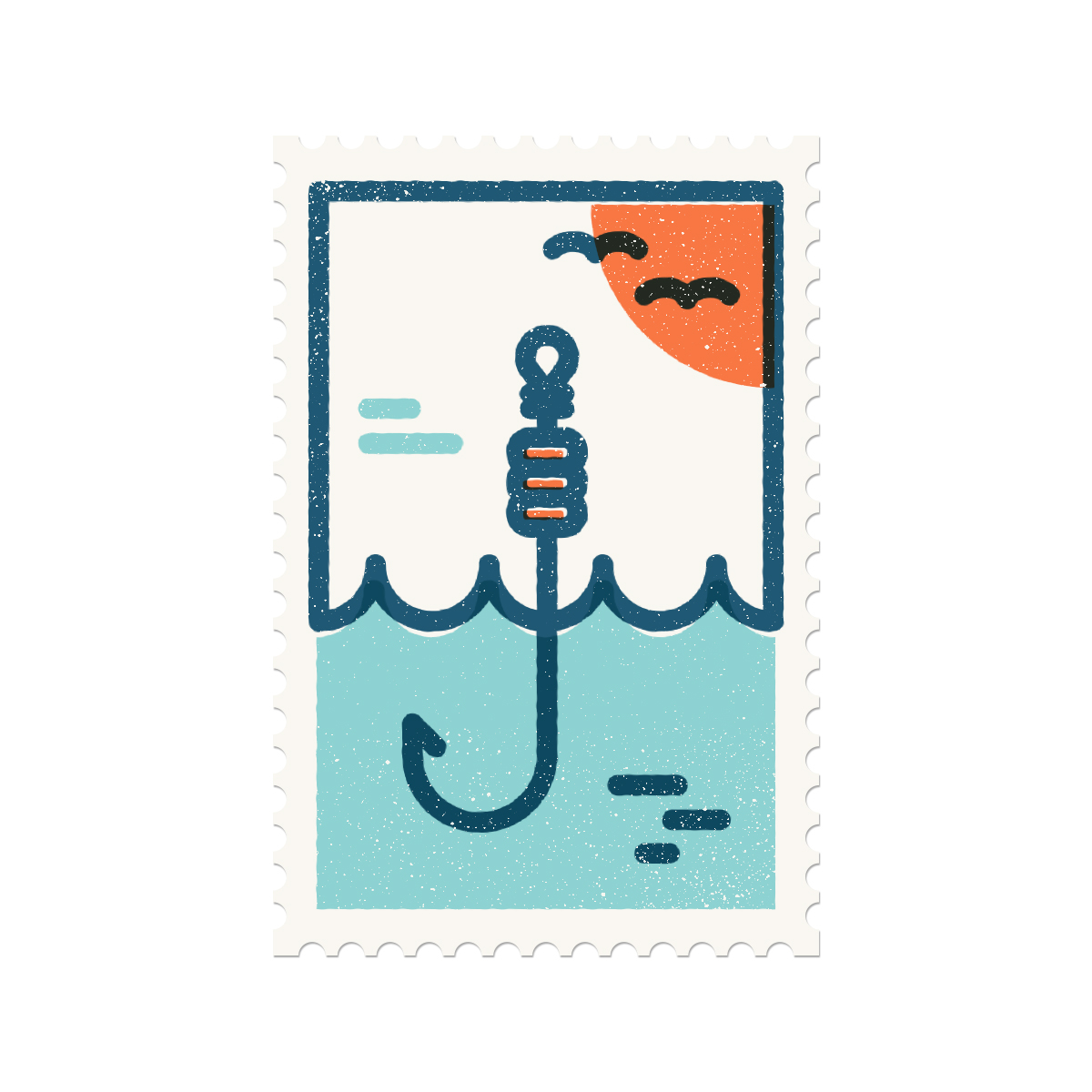 Illustration of a stamp with a hook symbolizing the letter J