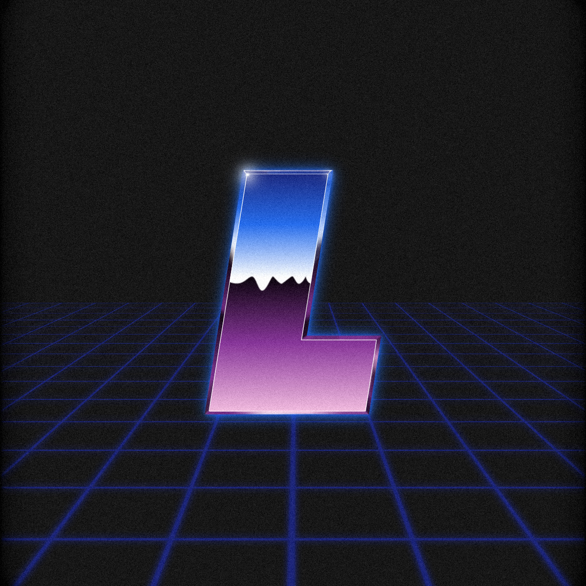 Illustration of an 80s style letter L