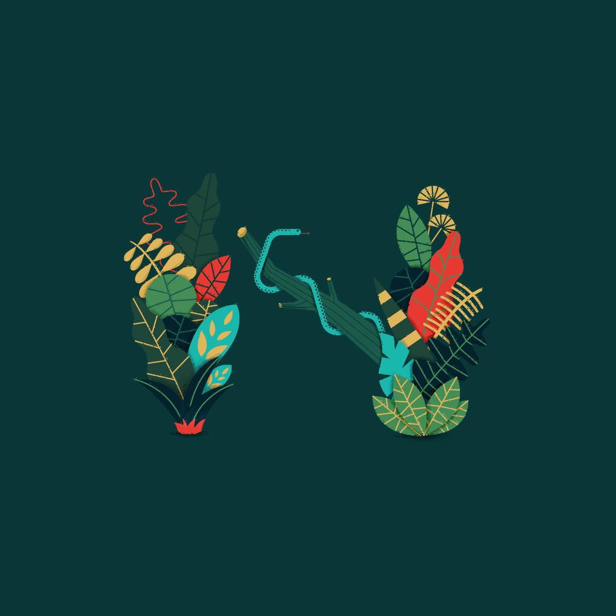 Illustration of the nature symbolizing the letter N
