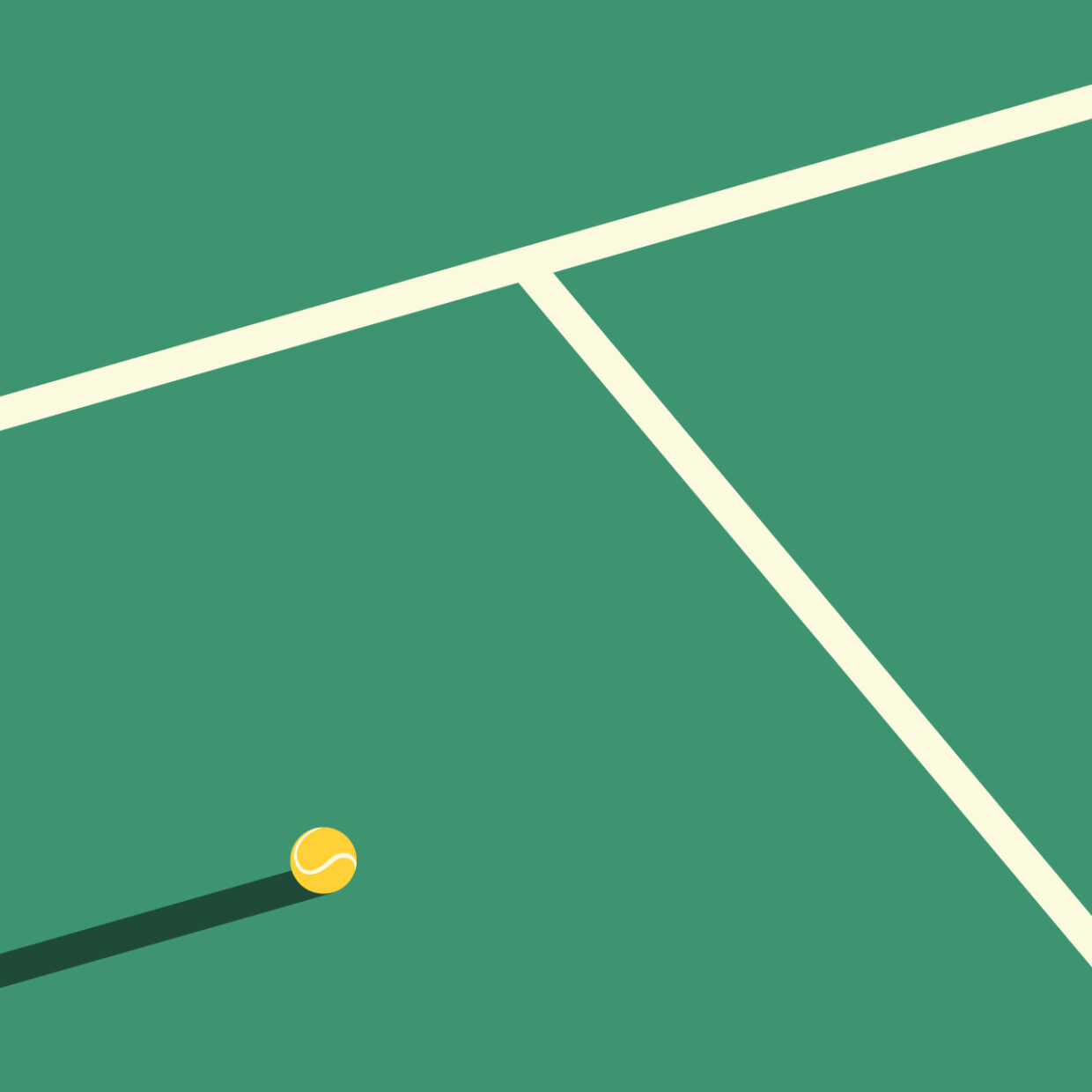 Illustration of a tennis court symbolizing the letter T