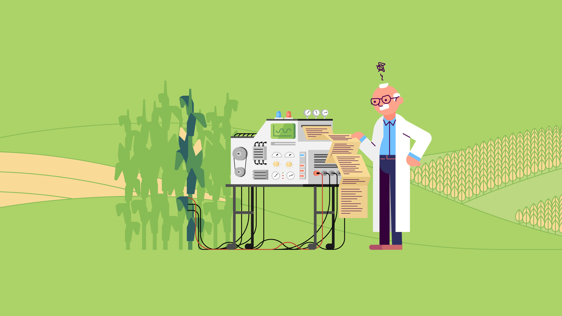 Illustration of a frustrated scientist with a complex machine analyzing a corn plant