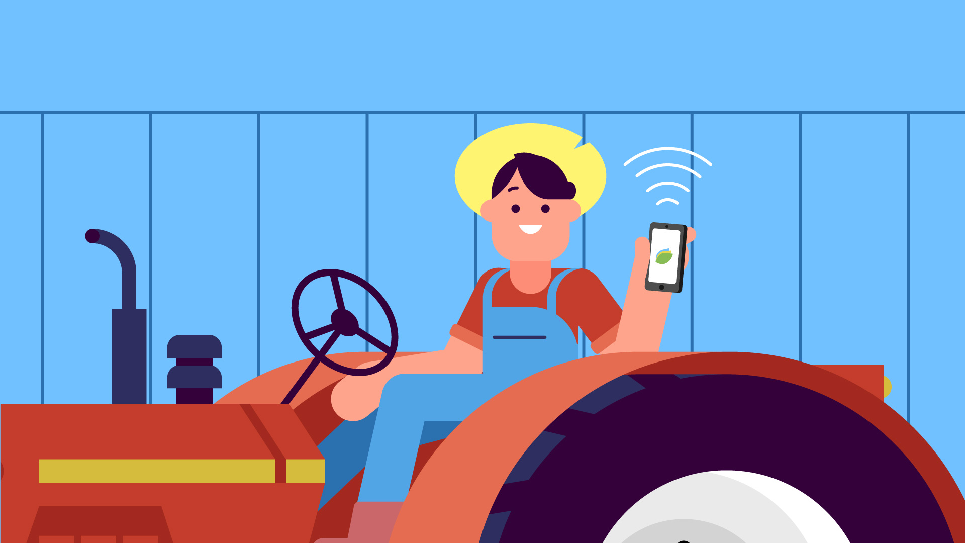 Illustration of a farmer sitting on a tractor and showing a phone