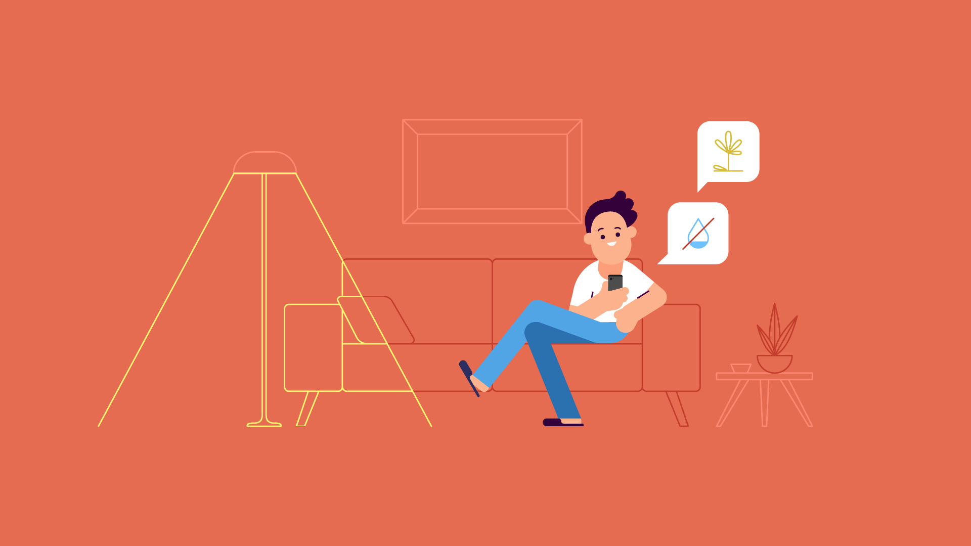 Illustration of a person sitting on a sofa looking at his phone
