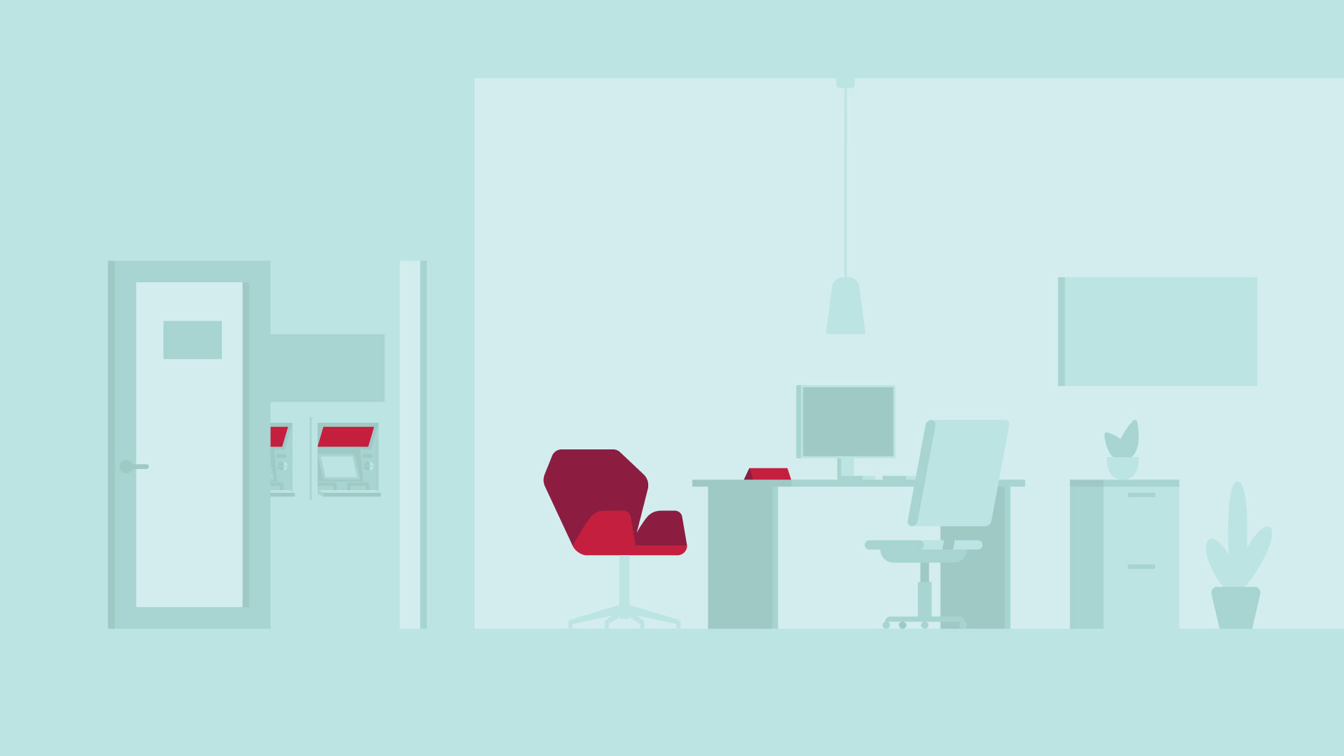 Vector illustration of a bank's manager office for the CIBC communications