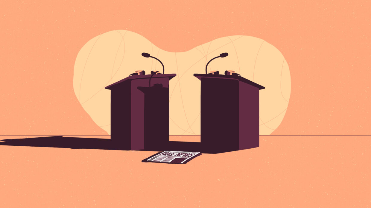Illustration of two empty lecterns and a newspaper on the floor