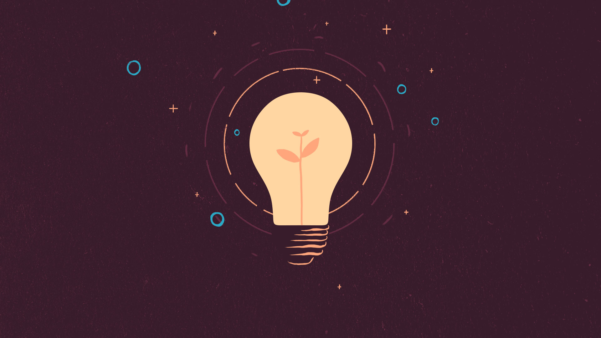 Illustration of a light bulb on and a small plant inside it