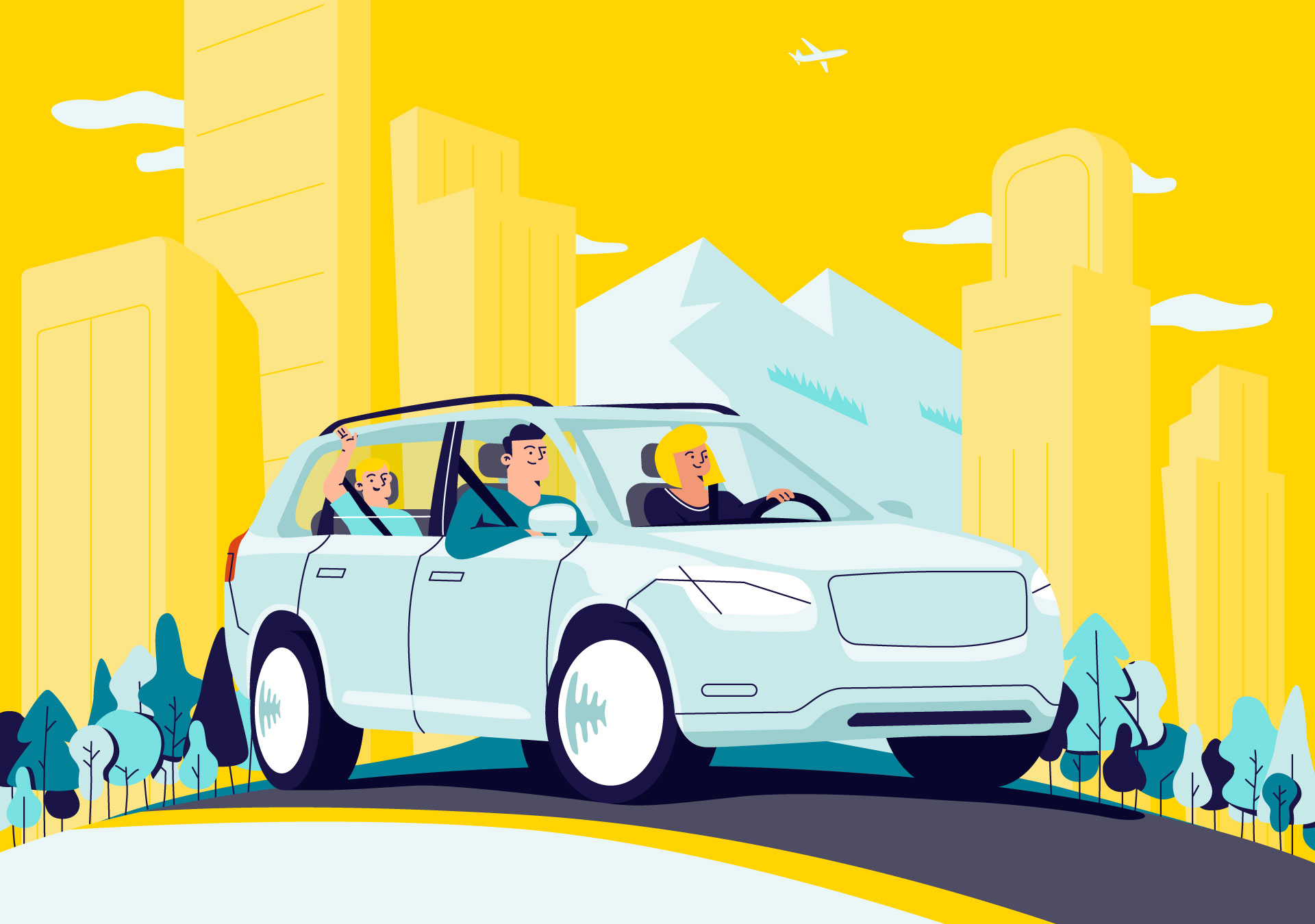 Illustration of a happy family in a car crossing the a city with trees, buildings and a big mountain in the background