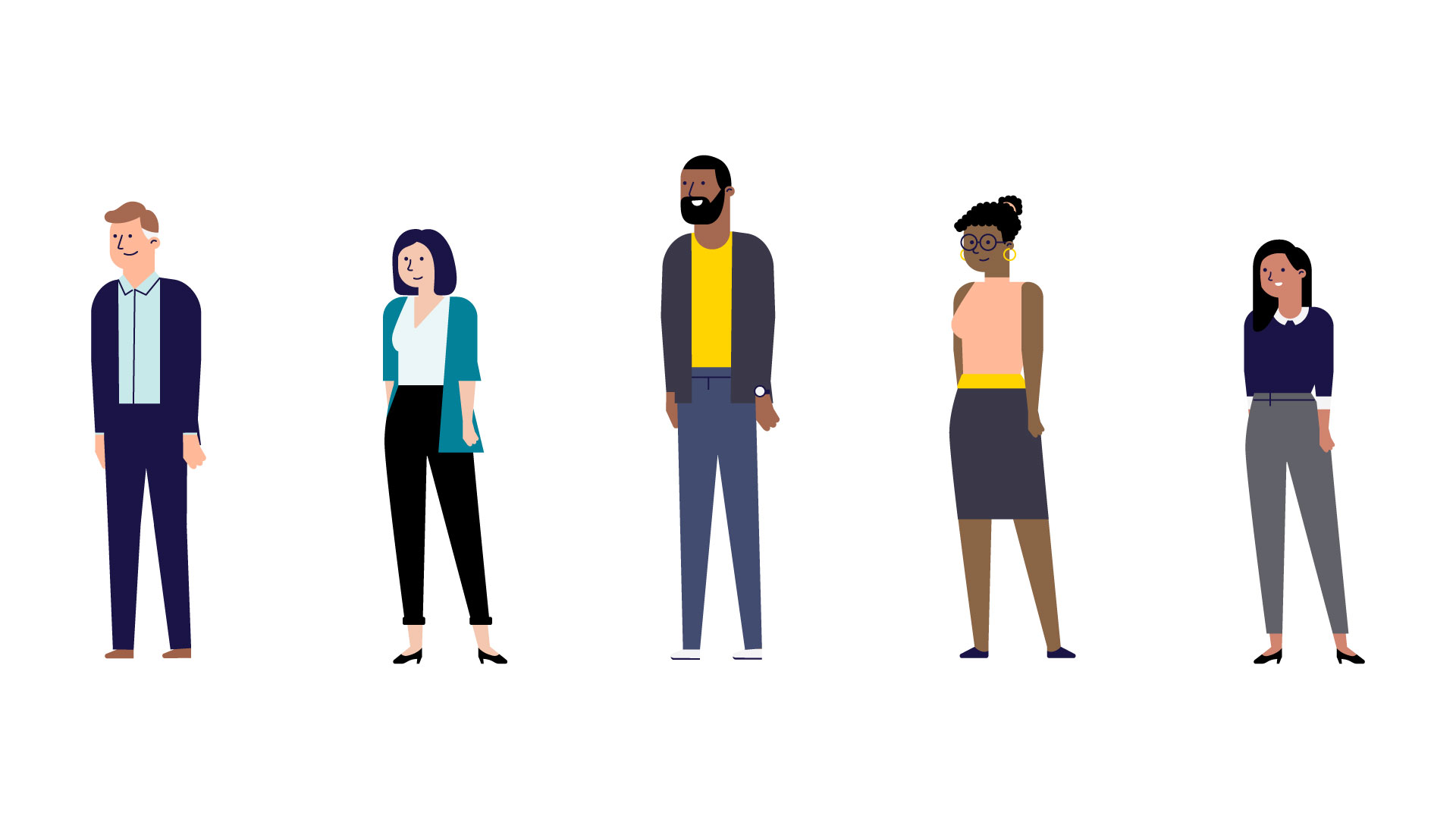 Illustration of different characters for Liberty Mutual