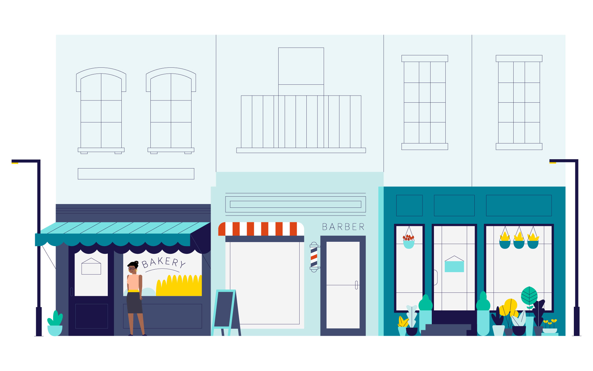 Illustration of a street with various stores: a bakery, a barber shop and a florist shop