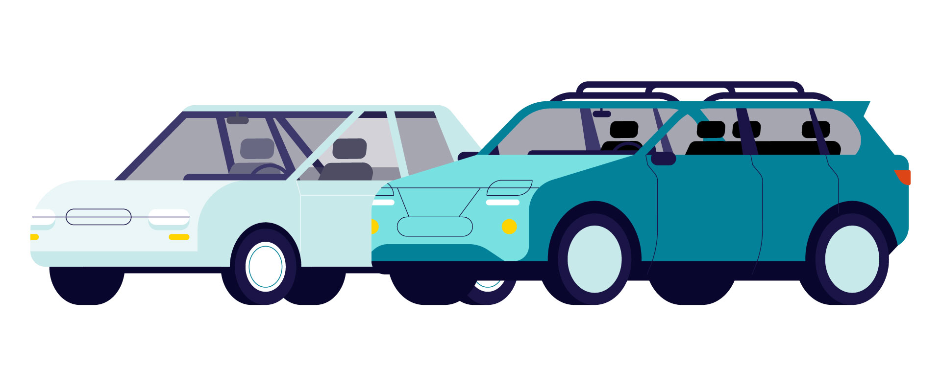 Illustration of two family cars