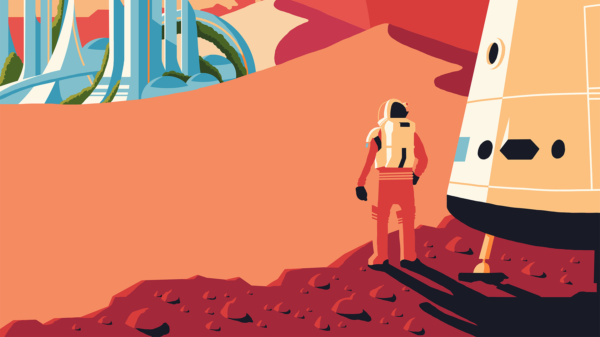Illustration detail of an astronaut who just landed on a new planet
