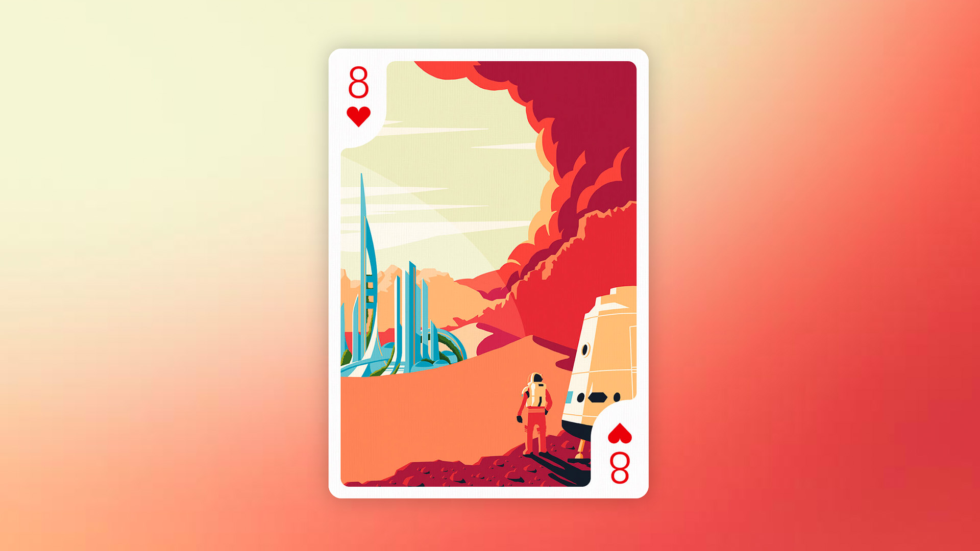 Illustration of an eight of hearts card showing an astronaut just landed on a new planet with a futuristic city on the horizon