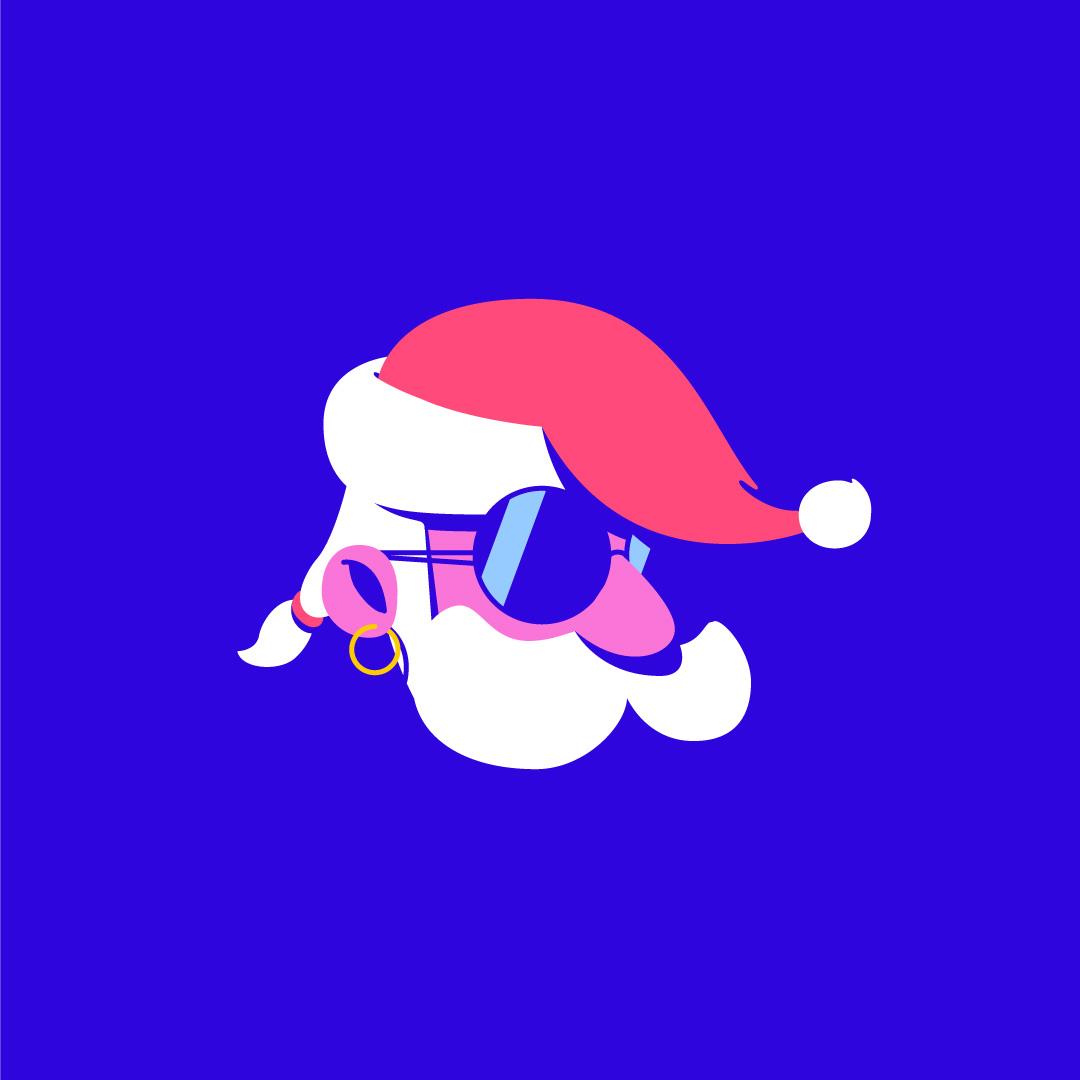 Illustration of a badass Santa Claus