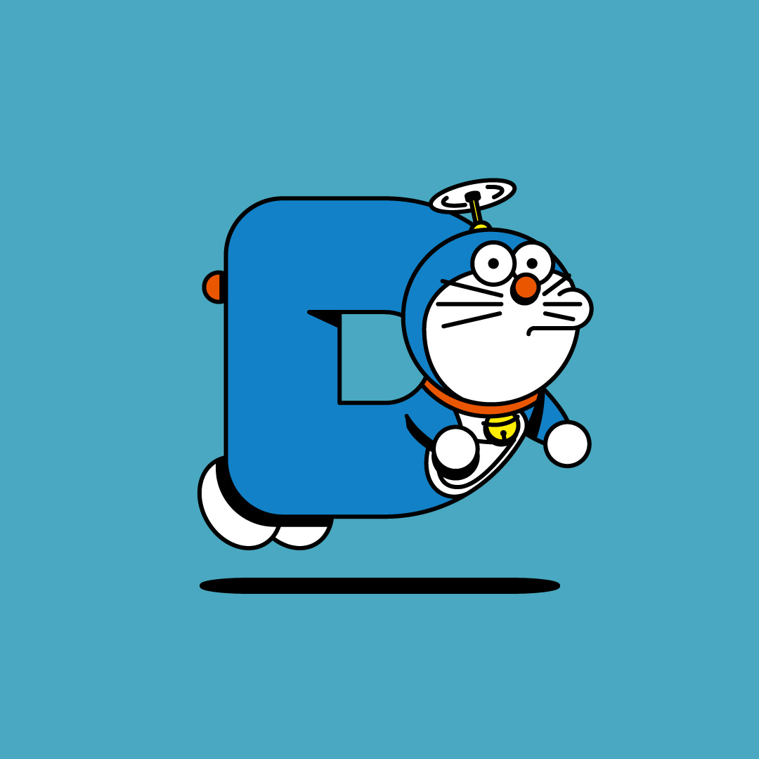 Illustration of Doraemon, the cosmic cat, symbolizing the letter D