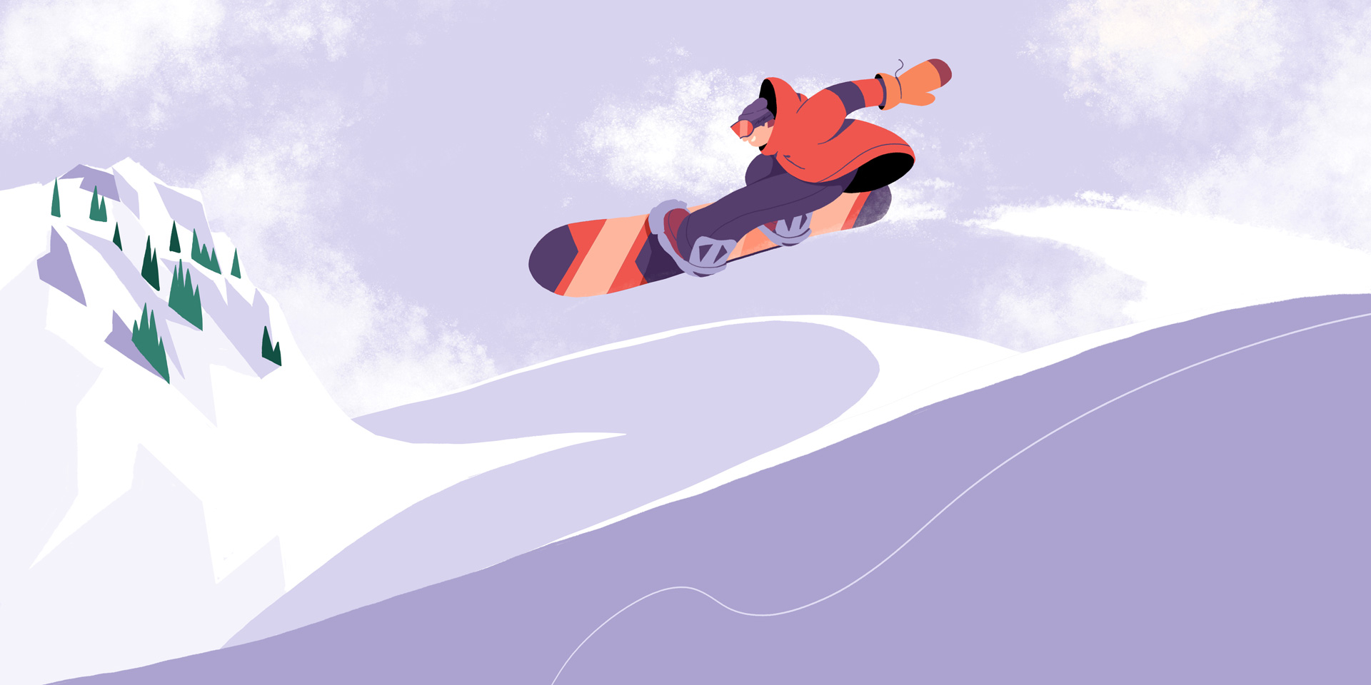 Illustration of a snowboarder jumping